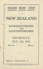 NEW ZEALAND tutti neri TOUR 1935 V Somersetshire & Gloucestershire RUGBY PROG