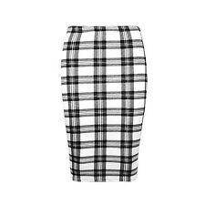 New Womens Plain Bodycon Pencil High Waisted Ladies Stretch Midi Skirt S/M M/L
