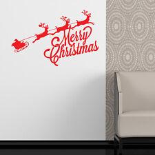 Babbo natale e slitta adesivi da parete negozio insegna arte decorazione xm9
