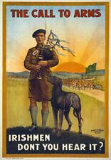 WA77 Vintage WWI Call To Arms Irish Ireland War Recruitment Poster WW1 A1 A2 A3