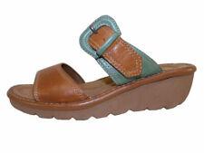 "Cobb Hill By New Balance Omara Tan Leather 2"" Wedge Heel Slide Sandals"