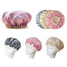 Women Double Waterproof Shower Satin Bathing Cap Hats Silk Reusable Hair Cover