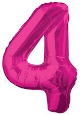rosa número 4 4º fiesta cumpleaños gigante con Forma Globo Helio Metalizado