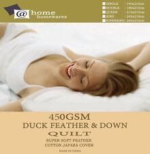 450GSM White Duck 90%Feather & 10%Down Quilt Doona Duvet 300TC Cotton Cover