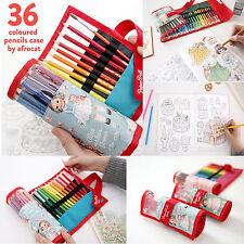 KOREA Afrocat Paper Doll Mate 36 Colored Pencils Case Pouch Organizer Bag