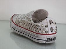 Converse all star OX  borchie teschi  scarpe  bianco optical white artigianali