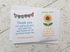 Thank You Card Sunflower Seed Gift School Nursery Pre Teacher TA key worker