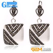 Pretty 18mm Square Beads Tibetan Silver Stud Earrings Fashion Jewelry for Girls