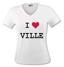 T-shirt Femme I Love personnalisé avec la ville de votre choix - du S au XL