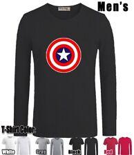 Captain America Symbol Design Long Short Sleeves Men's Boy's T-Shirt Graphic Tee