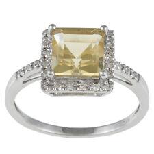 10k White Gold Princess-Cut Citrine and Diamond Halo Engagement Ring