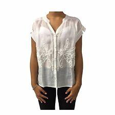 CA' VAGAN blusa donna avorio con ricamo 100% lino
