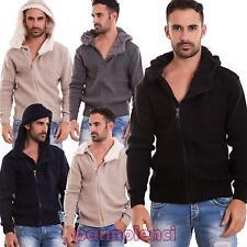 Cardigan uomo maglione eco pelliccia cappuccio pullover casual nuova 9911-MOD