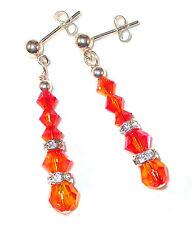 FIRE OPAL ORANGE Crystal Earrings Sterling Silver Dangle Swarovksi Elements