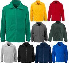 Adults Plain Long Sleeves Basic Fleece Jacket Mens Warm Winter Full Zip Coat Top