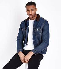 Ex New Look Brand Mens Blue Fitted Denim Borg Jean Jacket Coat Sizes XS - XXL