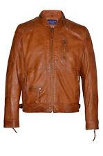 Men's 9056 Classic Style Orange ZipCollar Designer Casual Soft Leather Jacket