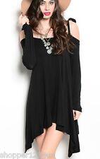 Black Tie Off/Open Shoulder Asymmetric Long Sleeve Jersey Drape Tunic/Mini Dress