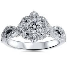 Verona 7/8ct Floral Halo Diamond & Blue Sapphire Engagement Ring 14K White Gold