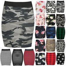 Para mujeres Estampado Floral Ejército Tartán Elástico con Cintura Damas Bodycon Mini Falda