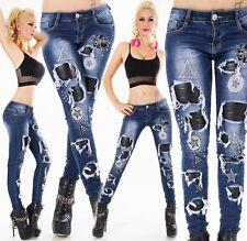 ORIGINAL Damen Jeans Hose Stretch Röhrenjeans Kunstleder Fetzen Nieten XS-XL