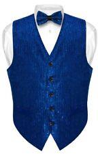Men's SEQUIN Design Dress Vest Bow Tie NAVY BLUE Color BOWTie Set