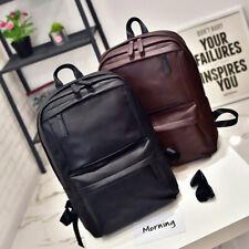 Men Women Leather Backpack Laptop Vintage Satchel Travel School Rucksack Bag LOT