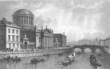 IRELAND Liffey River DUBLIN FOUR LAW COURTS Inns Quay ~ 1845 Art Print Engraving