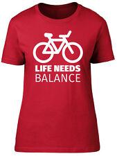 Life Needs Balance Bicycle Womens Ladies Short Sleeve T-Shirt