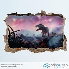 Dinosauro Rosa Cielo Muro Adesivo Decalcomania Smash 3D Camera Da Letto Vinile Murale Art