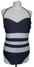 New Womens Marks & Spencer Blue White Swimming Costume Size 14 12 8