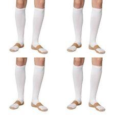 4 Pair White Copper Compression Support Socks 20-30 mmHg Graduated Men's Women's