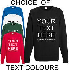 Custom Printed Personalised Sweatshirt Jumper Unisex Pullover Stag Hen Charity