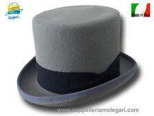 Cappello a cilindro grigio perla in feltro di lana