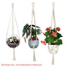 Handcraft Natural Cotton Knit Tassel/Simple Cord Plant Hanger Hanging Basket DE