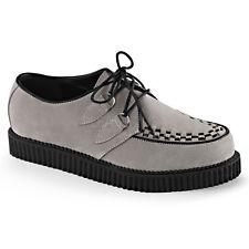 DEMONIA Mens Rockabilly Punk Goth Platform Shoes Suede CREEPER-602S Gray