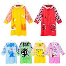 AU Children Student Portable Rain Poncho Raincoat Hooded Schoolbag Seat Rainwear