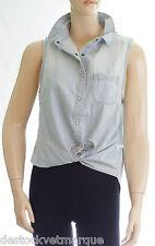 PEPE JEANS Chemise jeans sans manches femme MADISON bleue