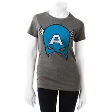 Captain America TEE Juniors WOMENS Girls T SHIRT The Avengers IRON MAN Hulk CAP
