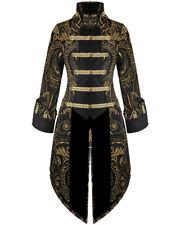 Devil Fashion Womens Tailcoat Jacket Coat Black Gold Gothic Steampunk Aristocrat