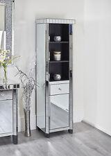 Mirrored Slim Display Cabinet Mirror Compact Drawer Cupboard Tile Black Silver