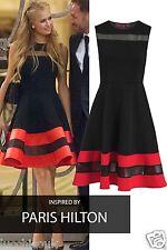Ladies Sleeveless Paris Hilton Inspired Contrast Mesh Insert Skater Party Dress