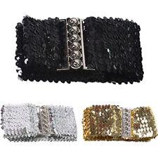 Women Glittery Metal Buckle Sequin Stretch Waist Belt XS S (Black/Silver/Gold)