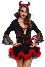 Damen Teufel Kostüm Teufelin Kleid Davil Horror Halloween Karneval