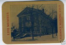 1910 Celluloid Card Alliance Masonic Club Alliance Ohio