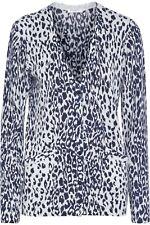 NWT Equipment Sullivan Leopard Print Cashmere Cardigan Ivory/Peacoat Sz XS $348