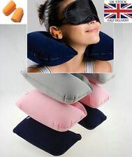 Testa Viaggio Riposo Collo Cuscino Cuscino d'aria gonfiabile Supporto + Auricolare Spina Occhi Maschera