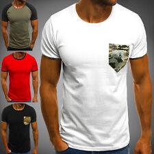 OZONEE Herren T-Shirt Kurzarm Shirt Rundhals Slim Fit Brusttasche Basic 7424 MIX