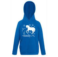 Personalised Horse Hoodie Royal Blue Girls Kids Hoody Aged 1-2 to 12-13 Equine