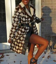 Mint Full Length white & multicolored Mink Fur coat jacket stroller S-M 2-8/10